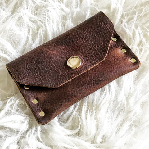 Distressed Saddle Leather Mini Snap Wallet