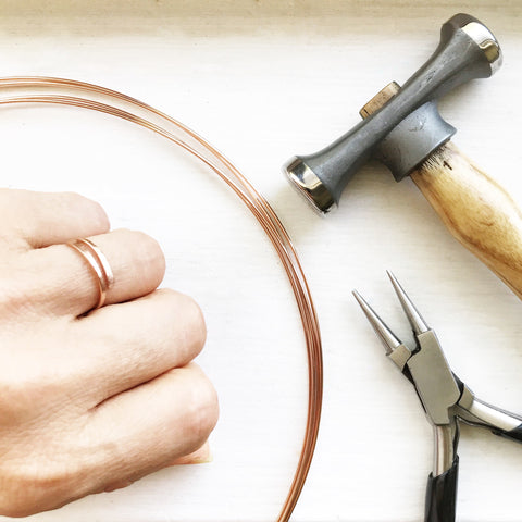Make Your Own Hammered Yellow or Rose Gold Ring