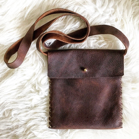 Distressed Saddle Leather Mini Crossbody