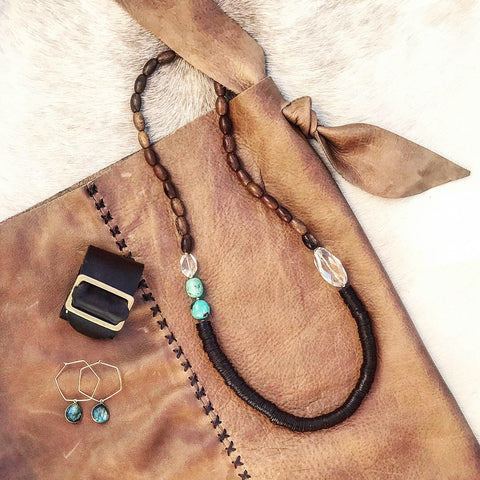 Distressed + Knotted Whiskey Leather Sack