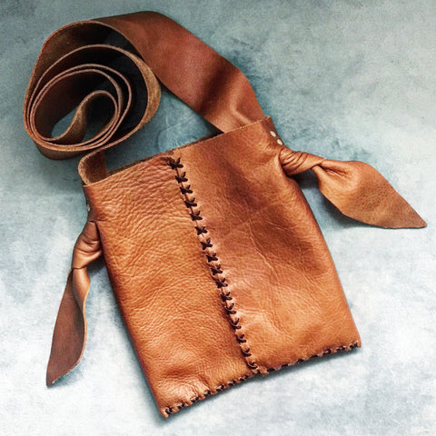 Distressed + Knotted Whiskey Leather Mini Crossbody