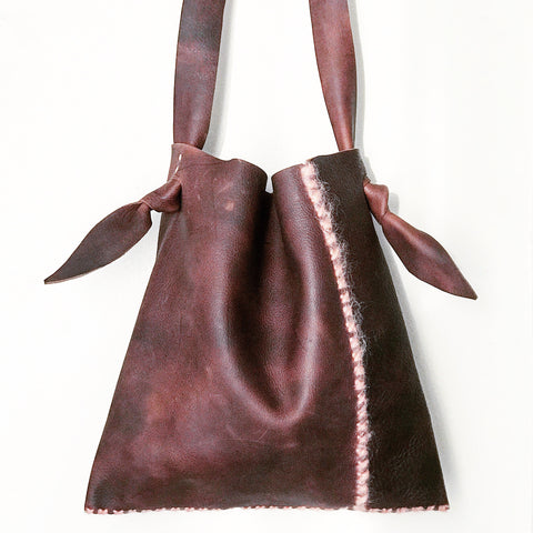 Mohair + Distressed Saddle Leather Sack