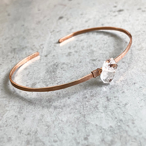 Temple Place Herkimer Diamond Cuff in Rose Gold