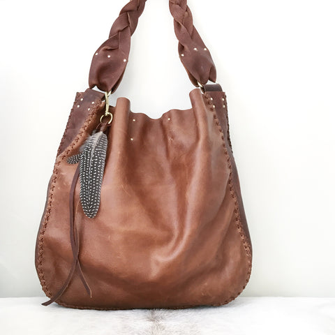 Distressed Whiskey + Saddle Leather Tote
