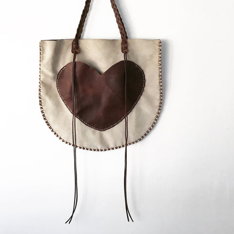 Suede Heart Bag