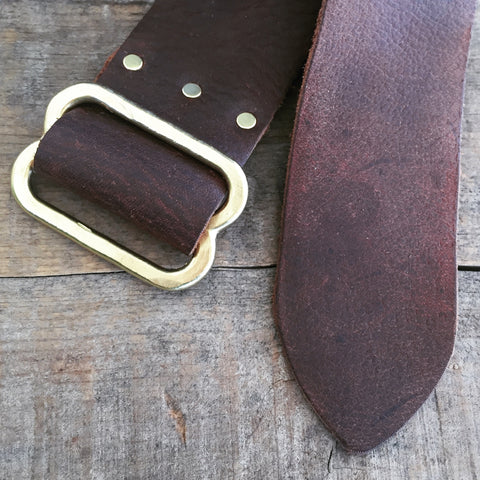 Hammered Brass Saddle Leather Belt