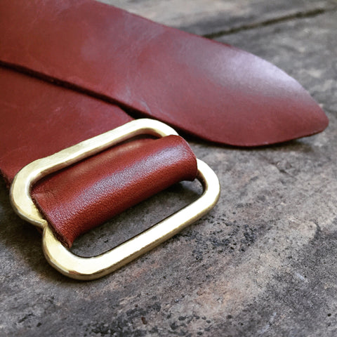 Hammered Brass Cognac Leather Belt