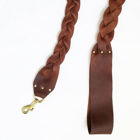 Wide Braided Saddle Leather Dog Leash