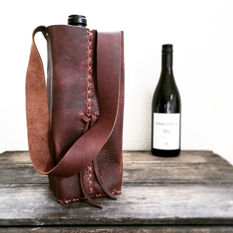 Saddle Leather Wine Bag