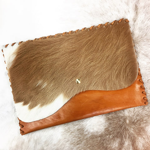 Leather + Cowhide Clutch