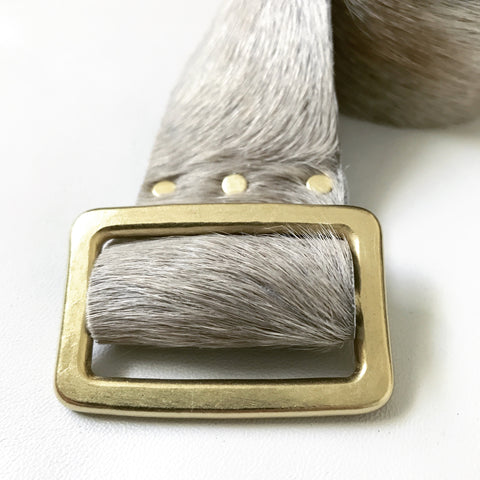 Hammered Brass Cowhide Leather Belt