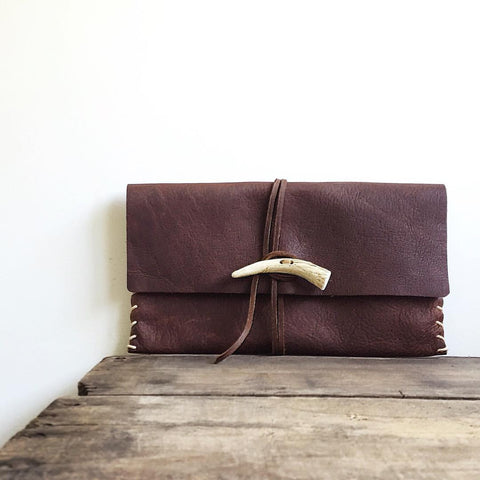 Antler + Saddle Leather Clutch