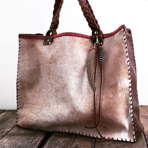 Cowhide + Saddle Leather Tote