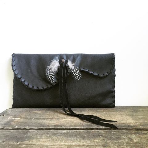 Leather + Feather Clutch