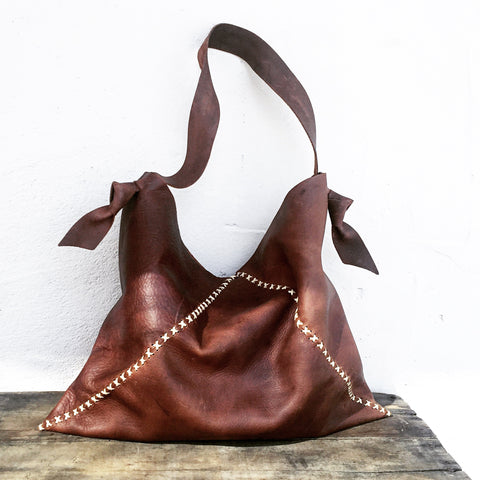 Knotted + Distressed Saddle Leather Sack