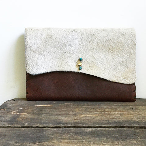 Cowhide + Saddle Leather Clutch
