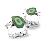AGATE NAPKIN RINGS SET OF 2 IN GRASS