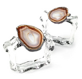 AGATE NAPKIN RINGS SET OF 2 IN SAND