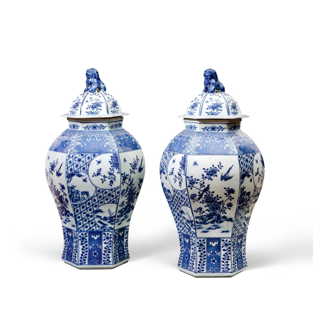 BLUE & WHITE HAND PAINTED PORCELAIN JAR