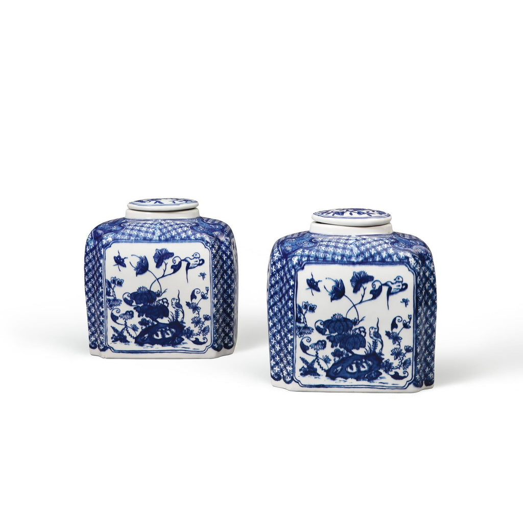 BLUE & WHITE  COVERED JAR