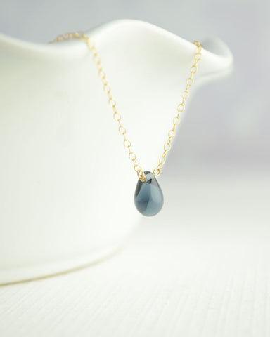 Midnight Blue Droplet Necklace