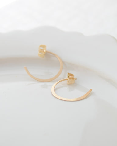 Small Hammered Open Hoop Earring
