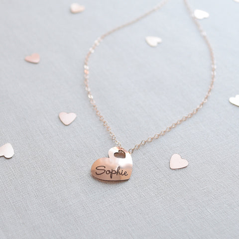 Engraved Heart Name Necklace