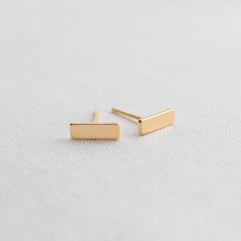 Flat Bar Stud Earrings