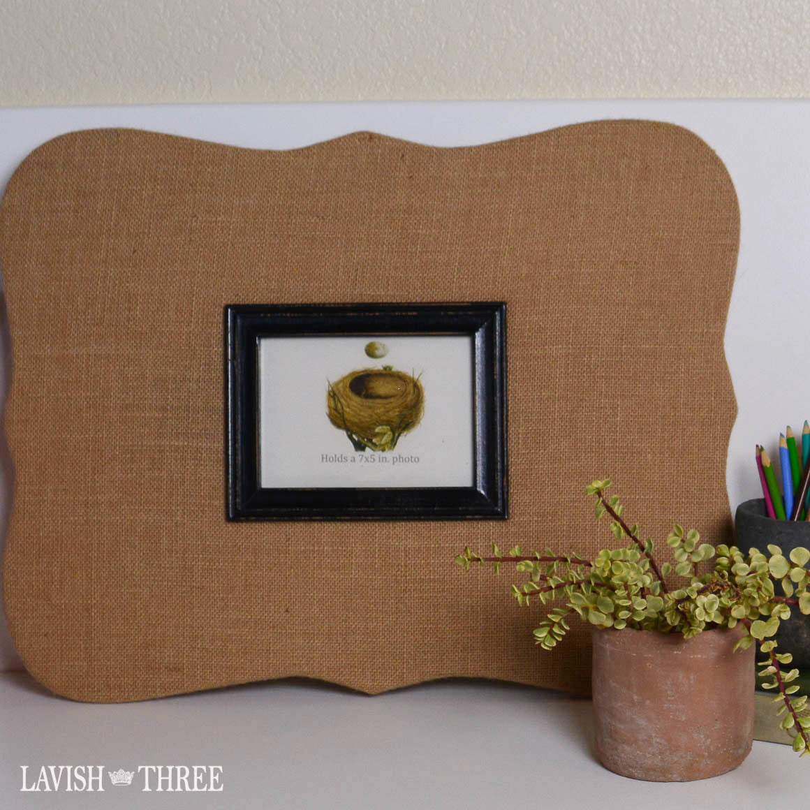 Lavish Planner large burlap organize board with frame, Lavish Three 3