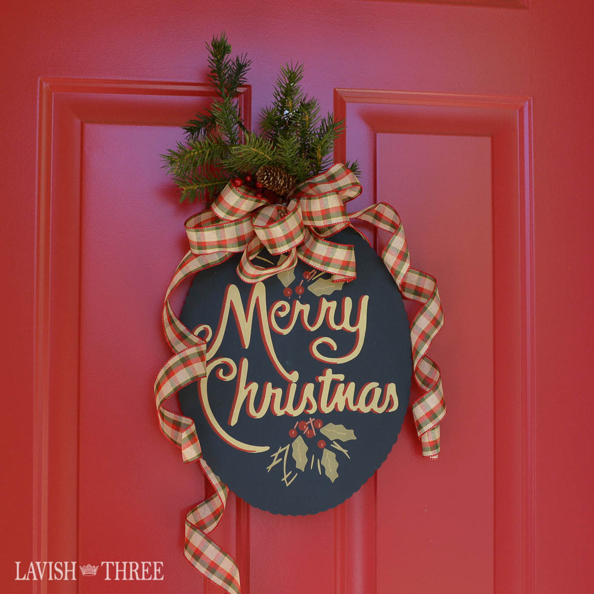 Hand painted Merry Christmas farmhouse country chalkboard sign, Lavish Three 3