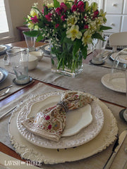 Lavish Lifestyle blog, French cottage charger plates, crown napkin rings, Penny Thomas, Lavish Three 3