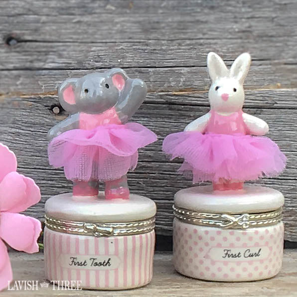 baby girl gift first tooth curl elephant bunny rabbit tutu Lavish three 3