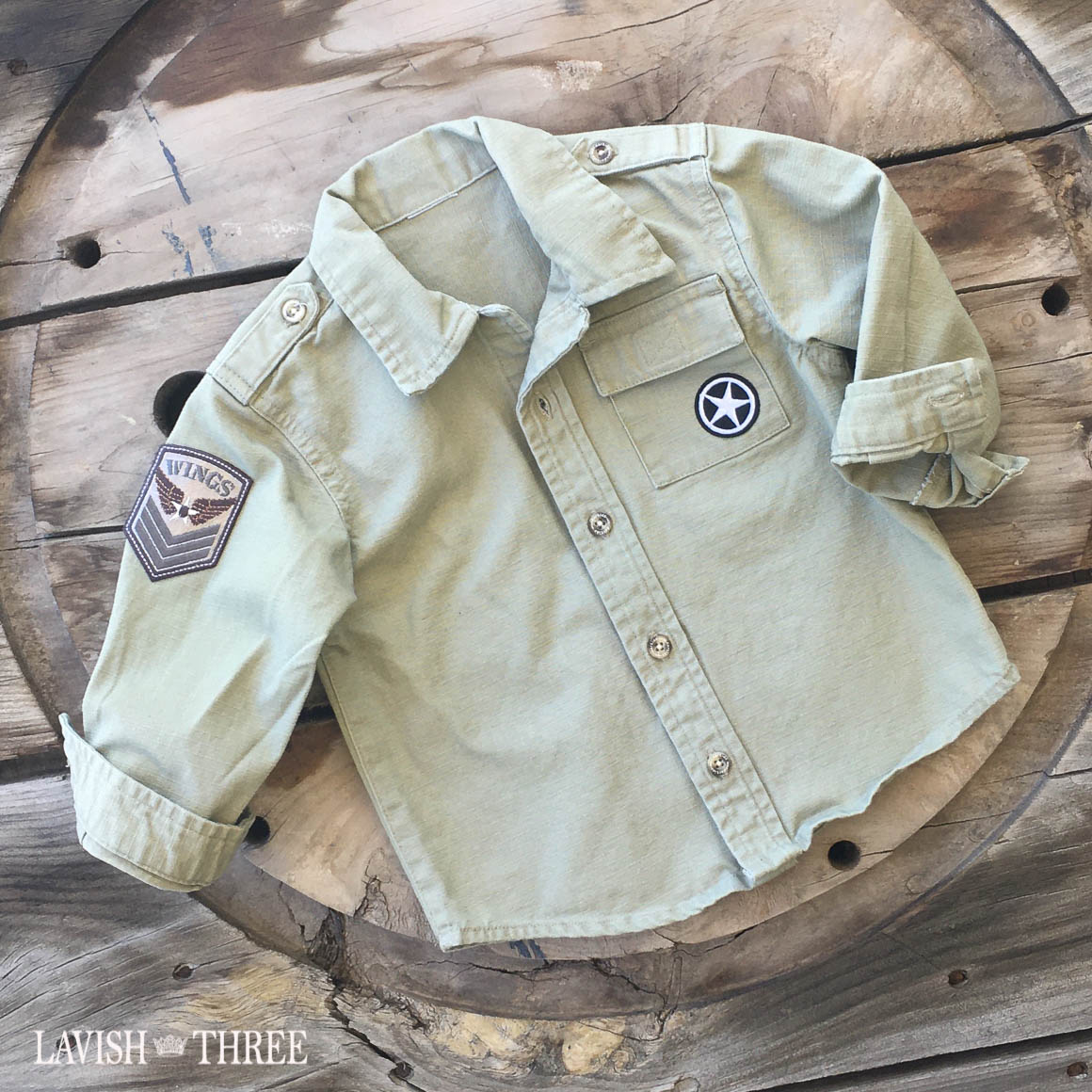 Army khaki fatigue shirt boys lavish three 3