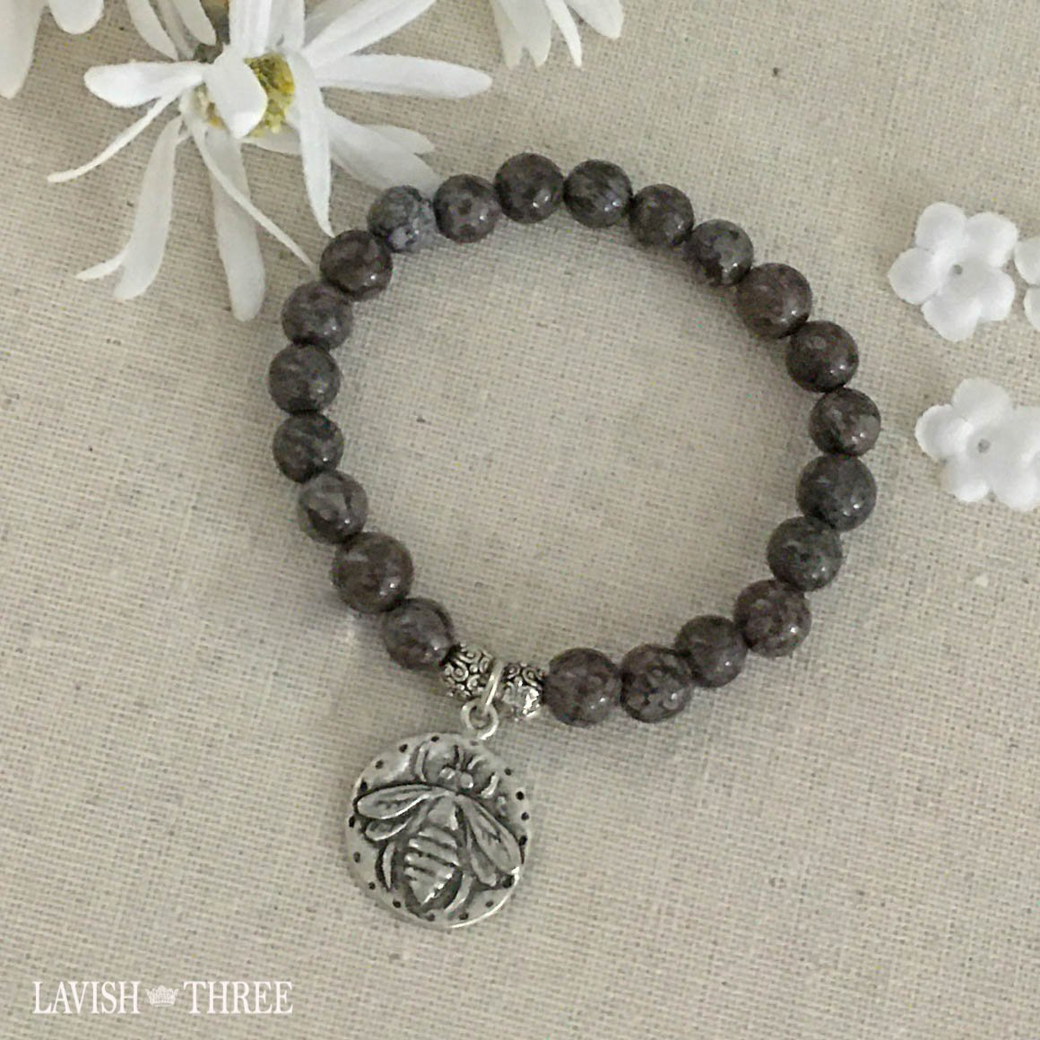 Silver bee charm chocolate brown bead bracelet lavish three 3