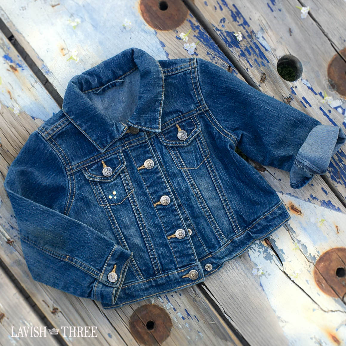 Denim Bee patch Jean jacket girl lavish three 3