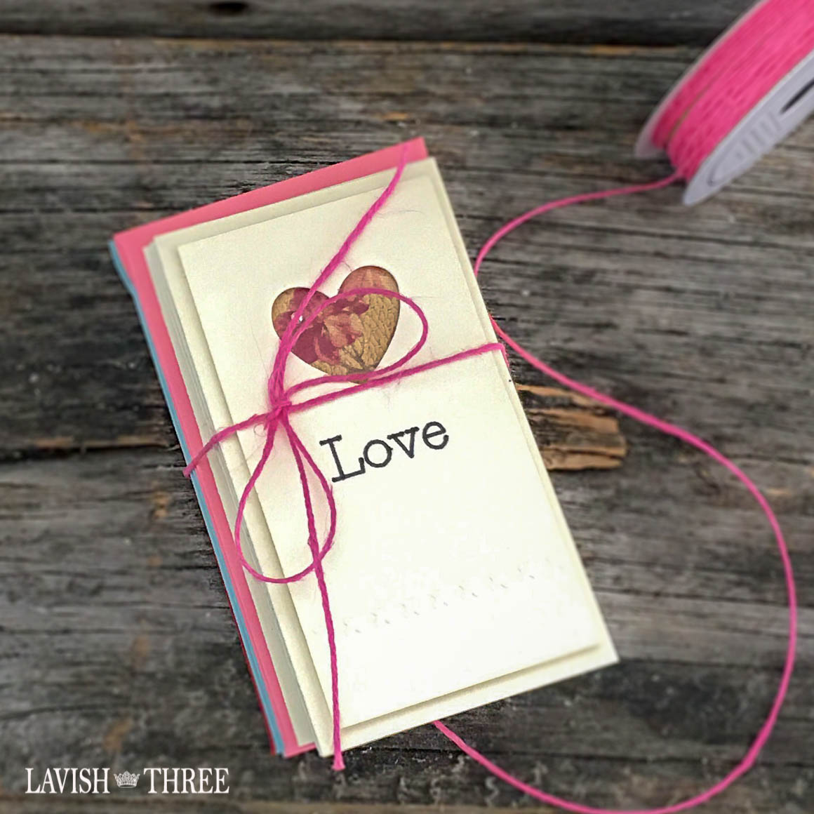 Embossed Love note heart cards with envelopes by Penny Thomas, Lavish Three 3