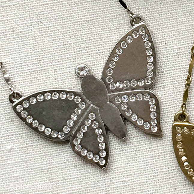 silver or gold large butterfly short necklace with crystals, Lavish Three 3