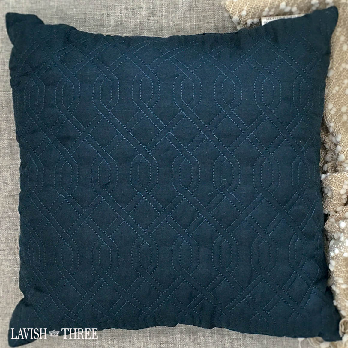 Navy blue square accent throw pillows Lavish three 3
