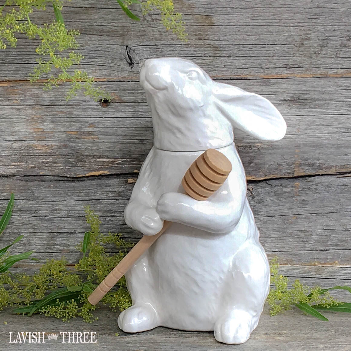 Bunny Rabbit honey pot with stir stick lavish three 3