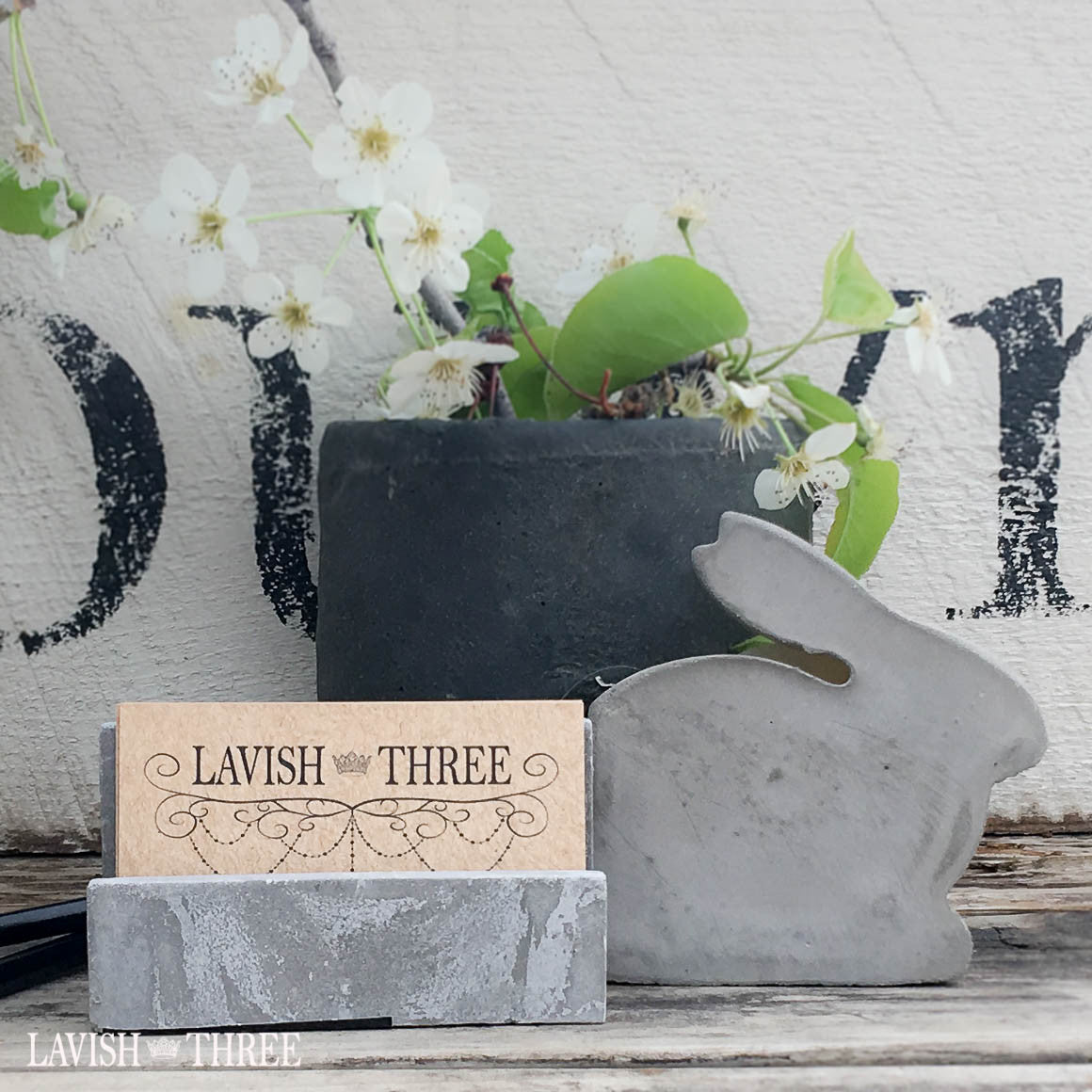 Shabby cement bunny tape dispenser and business card holder office desk set, Lavish Three 3