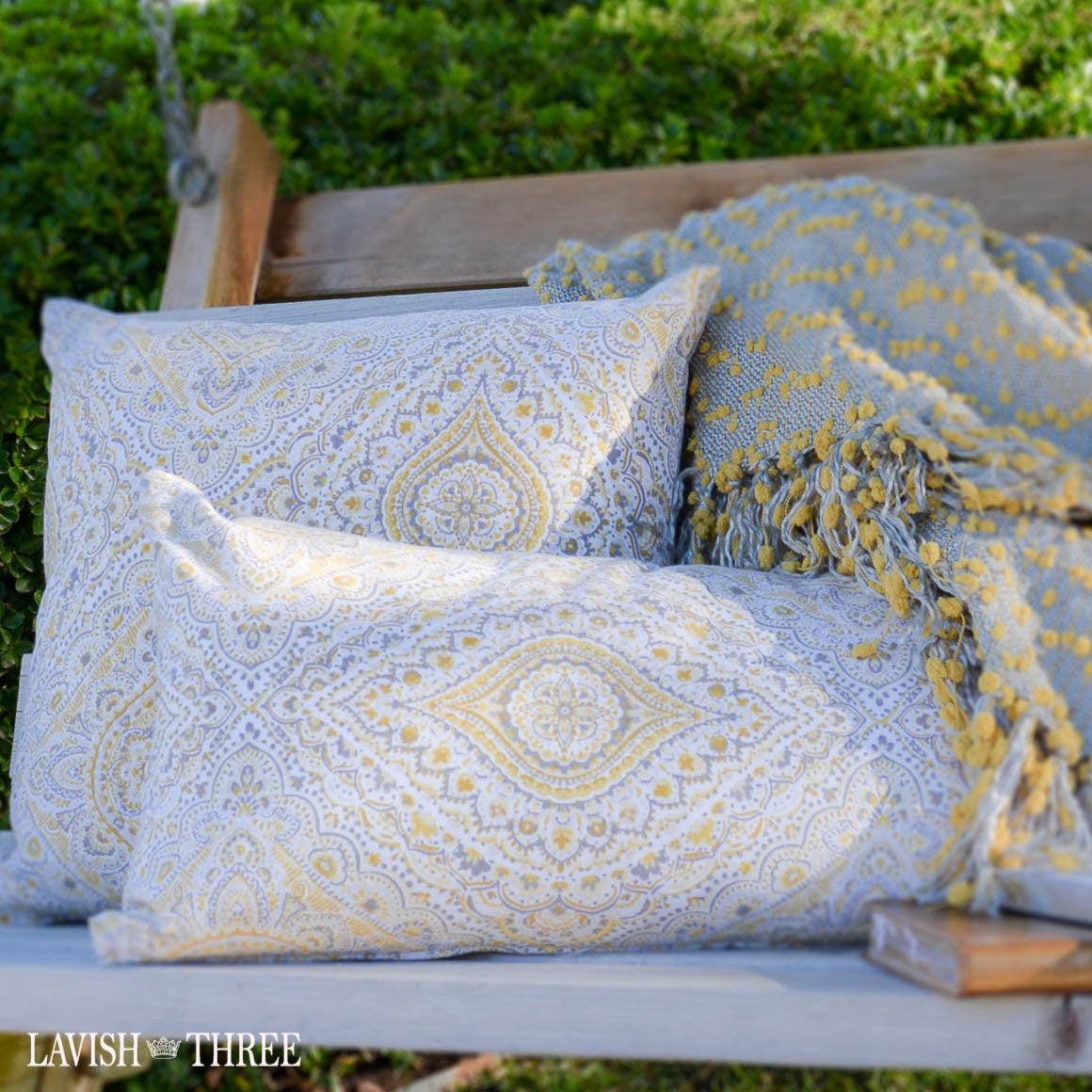 Batik patterned boho style pillow set in pale yellow, grey, taupe Lavish three 3