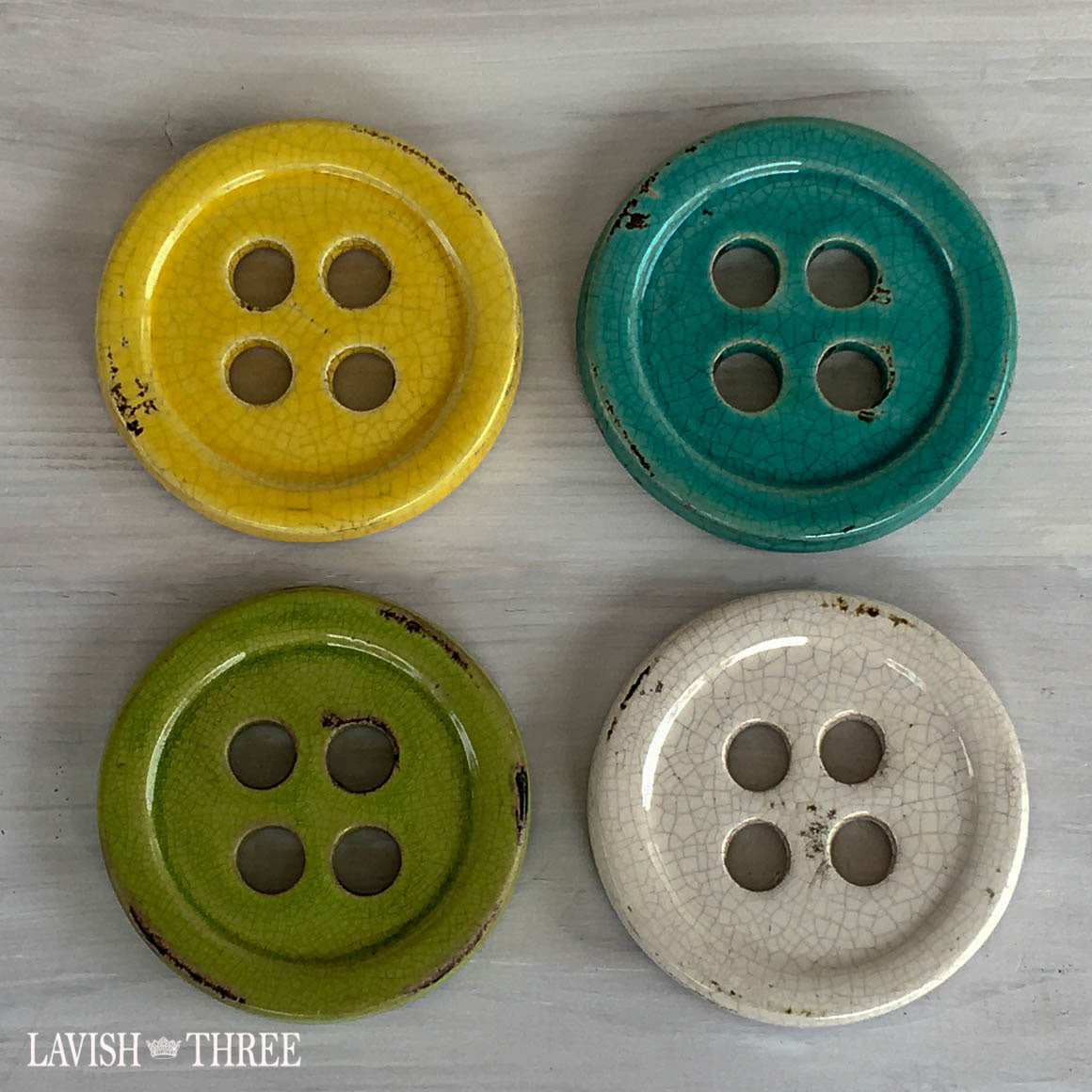 Coaster set buttons blue green yellow white lavish three 3