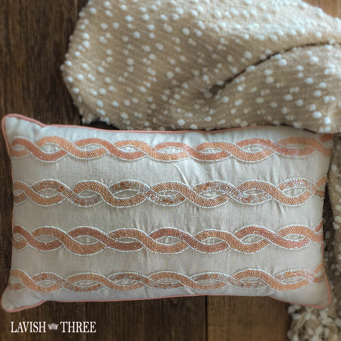 Peach tan beaded accent throw pillow lavish three 3