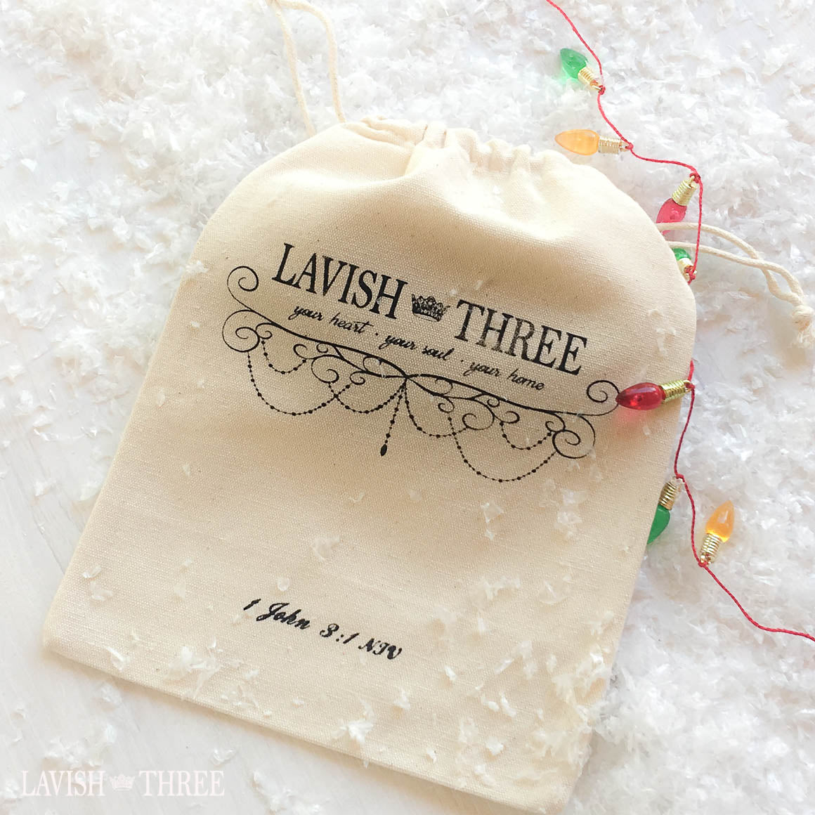 Lavish Three gift tote bag draw string canvas feel