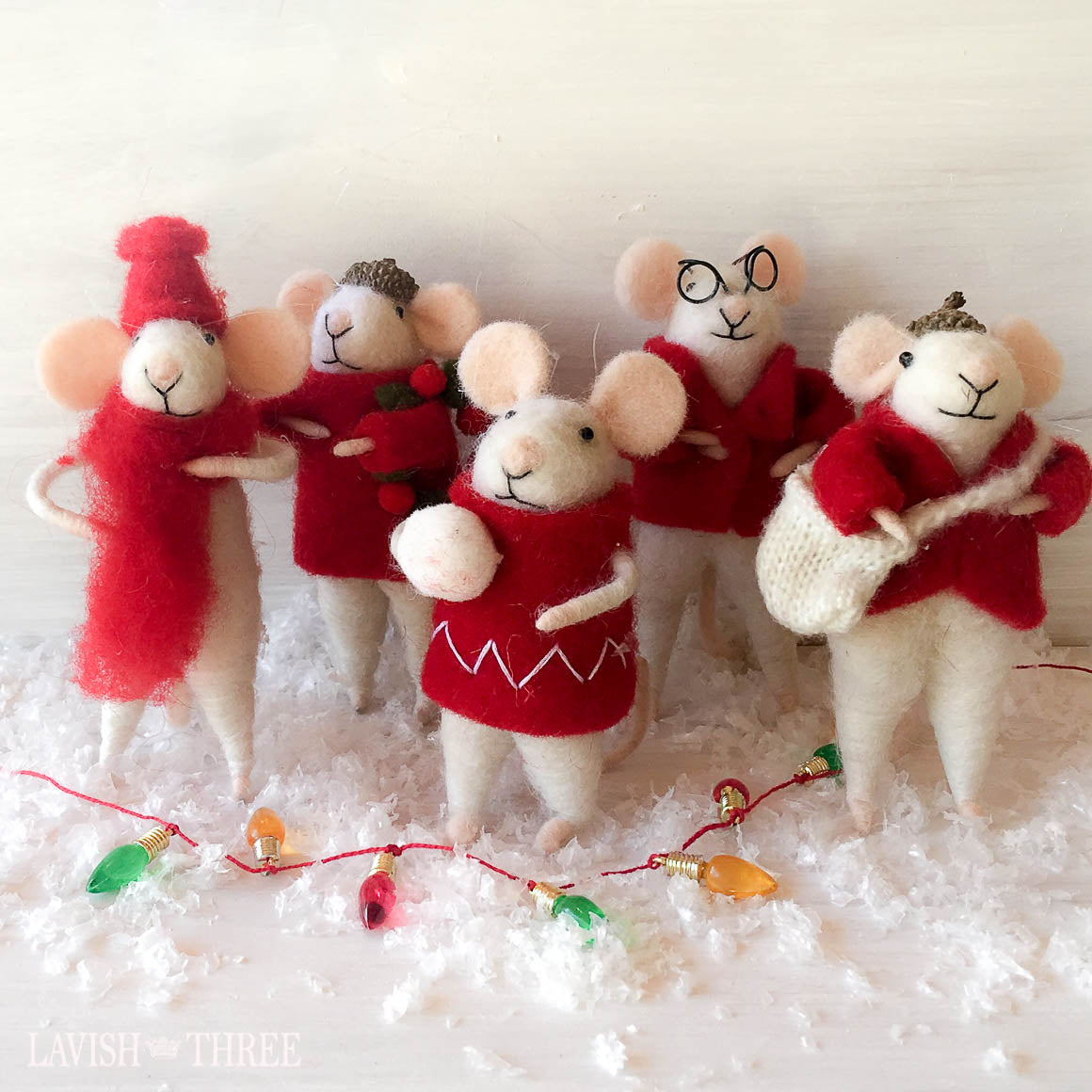 Plush mouse mice christmas tree ornament set Lavish Three 3