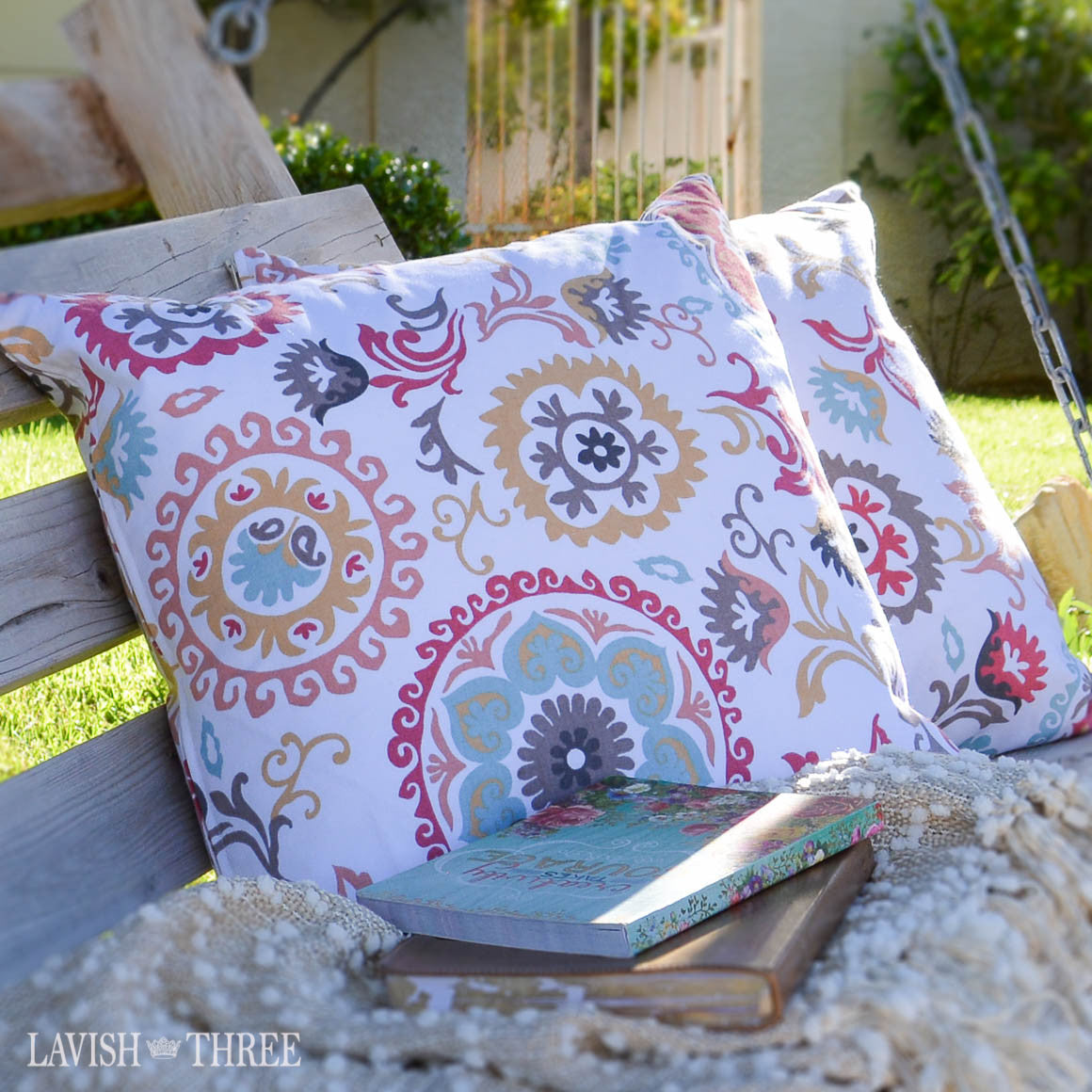 Country cottage floral and swirl boho style pattern throw  pillow set