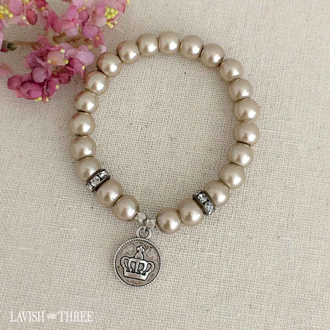 Crown silver charm taupe pearl bracelet lavish three 3