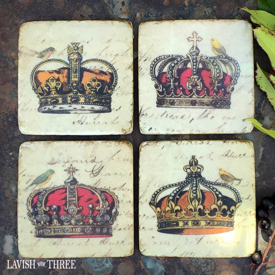 Crown coasters with bird Lavish three 3