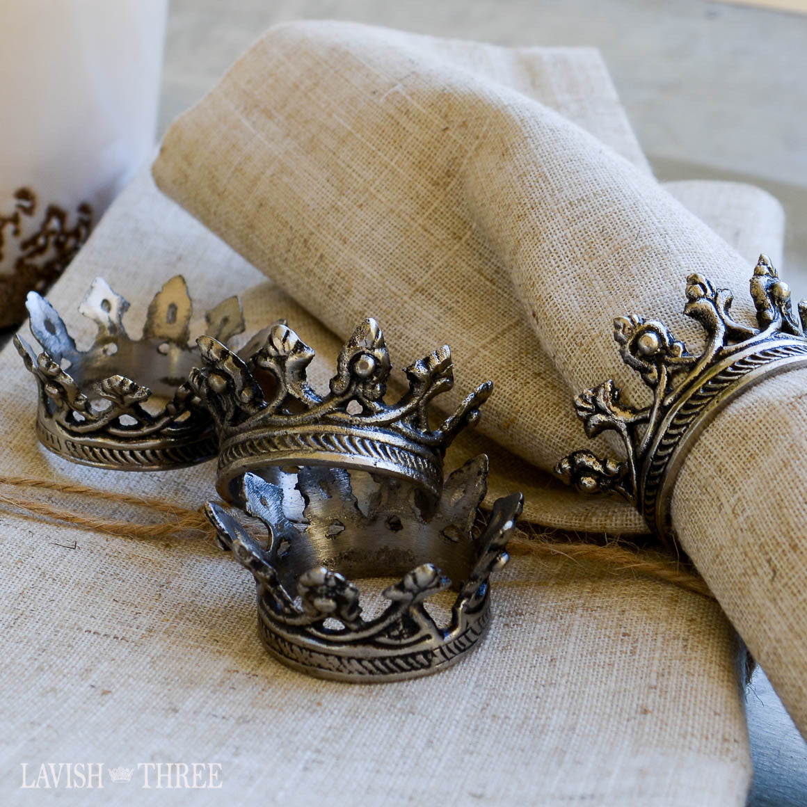 Majestic crown rustic metal napkin rings, Lavish Three 3