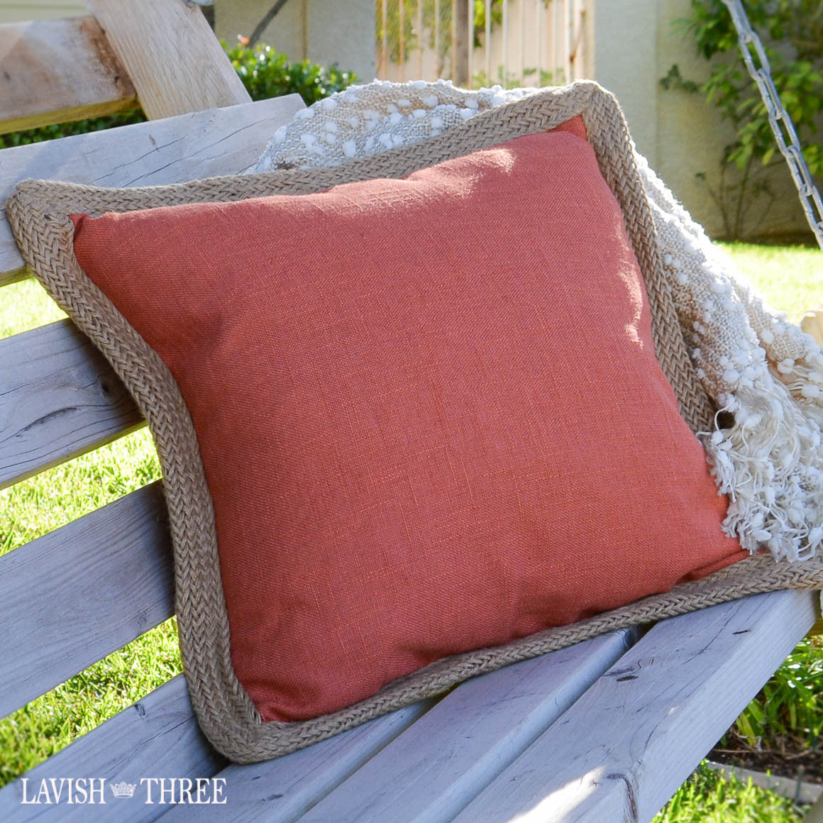 Coral orange decorator throw accent pillow with jute edge Lavish three 3